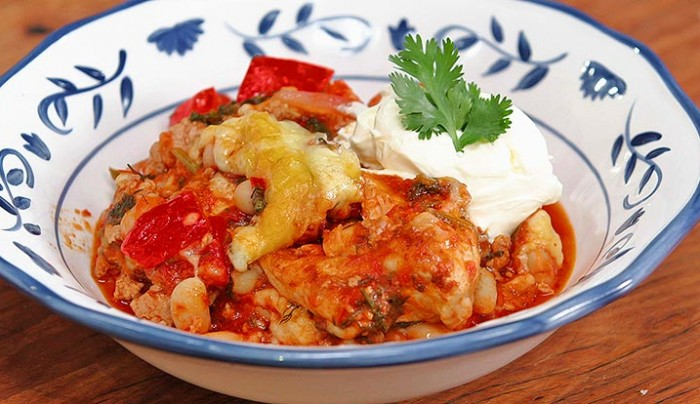 Baked Chicken with Mexican Bean and Cheese
