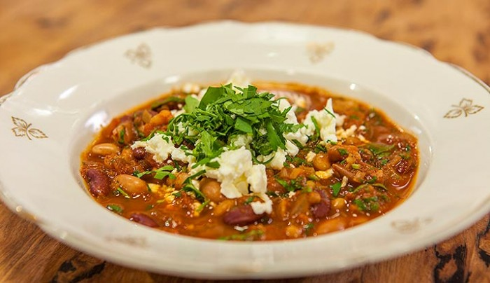 Spicy Baked Beans with Feta Cheese