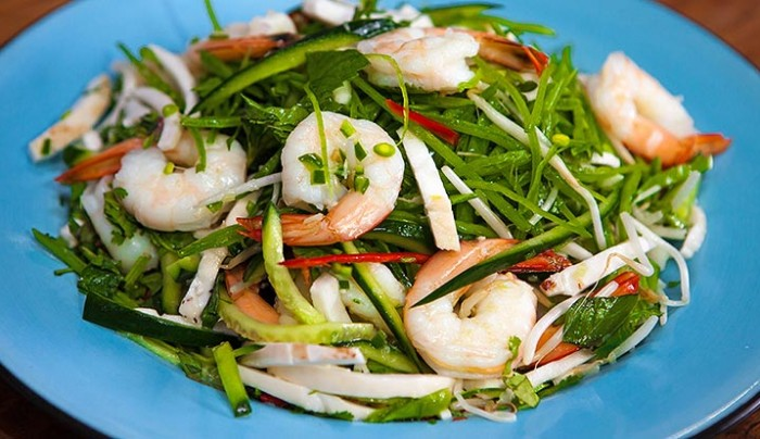 Young Fresh Coconut and Prawn Salad