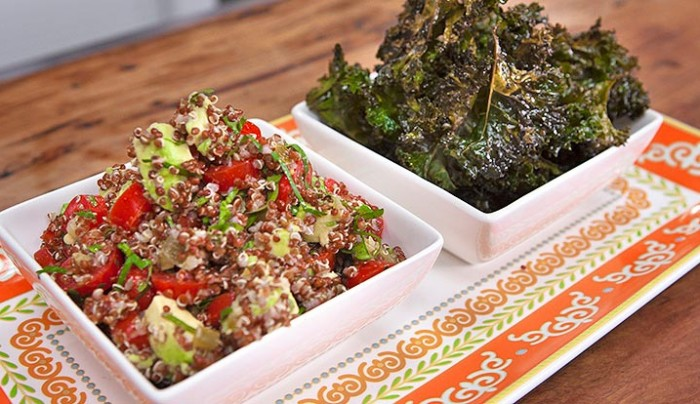 Quinoa, Avocado and Tomato Salsa with Kale Chips