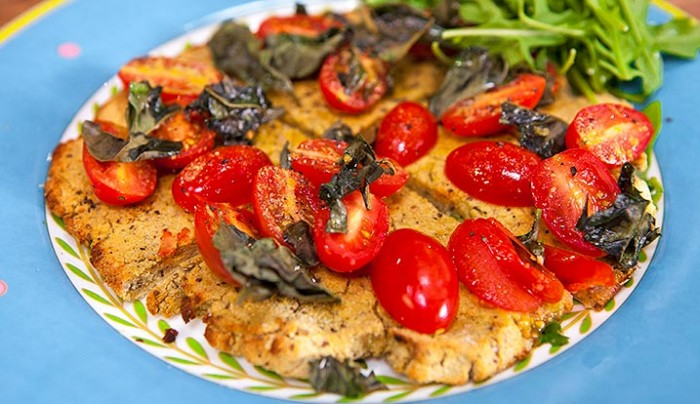 Cauliflower Pizza Base with Tomato, Basil and Olive Oil (vegetarian, gluten and dairy free)