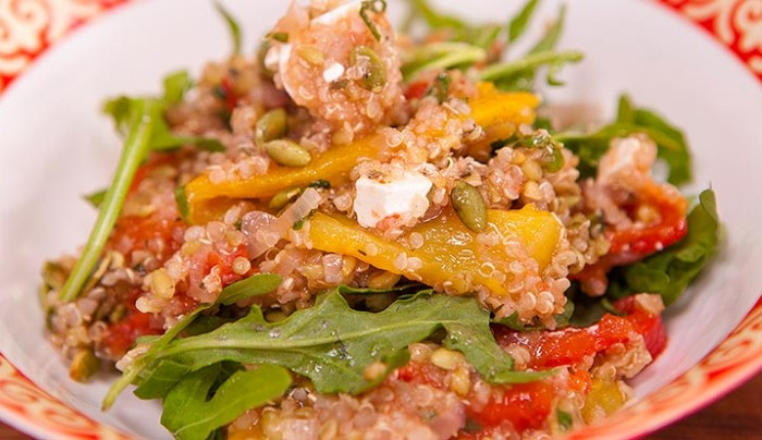 Roasted Tomato,Capsicum, Quinoa, Freekeh and Rocket Salad with a Coconut and Lemon Dressing