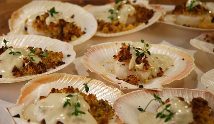 Scallops with Almond and Orange Crumbs