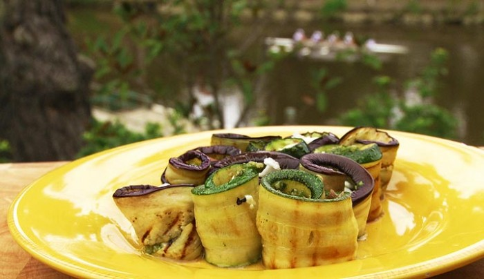Eggplant Rolls with Zucchini and Sunflower Seed Pesto