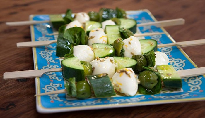 Bocconicini and Sicilia Olive Skewers