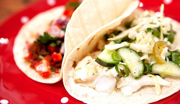 Fish Tacos with Cucumber and Cabbage Salad