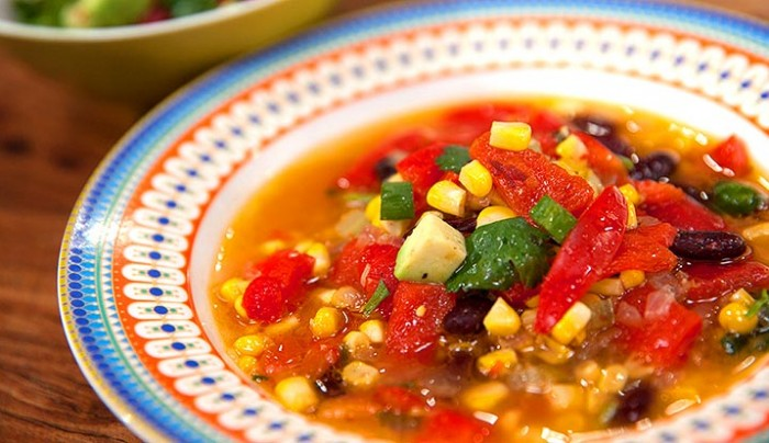 Mexican Corn Soup with Crushed Avocado