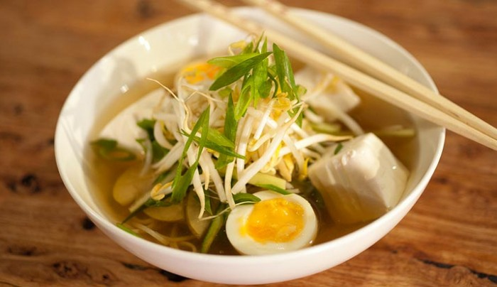 Sour Buckwheat Noodle Soup with Silken Tofu and Pear