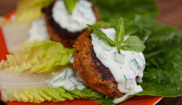 Salmon Burgers with Yoghurt Cucumber Sauce In a Lettuce Cup