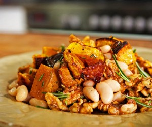 Sweet Roast Pumpkin with Walnuts and Cannelini Beans