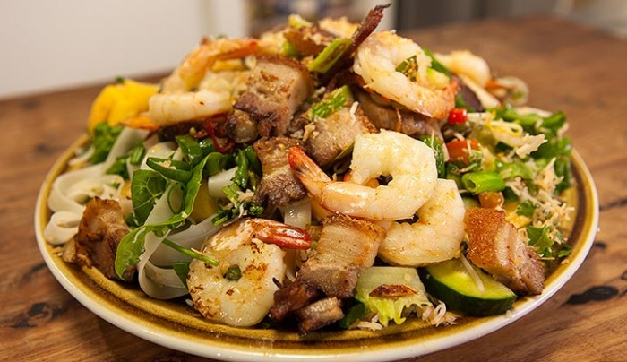 Cambodian Rice Noodle Salad with Pork & Prawns