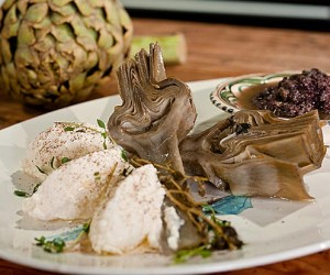 Fresh Whole Artichokes with Ricotta and Olive Tapenade