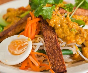 Balinese Vegetable and Egg Salad with Spicy Peanut Sauce