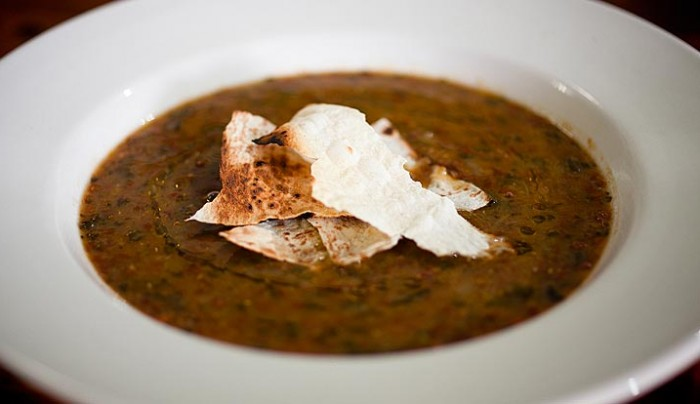 Curried Red Lentil Soup with Toasted Mountain Bread Chips