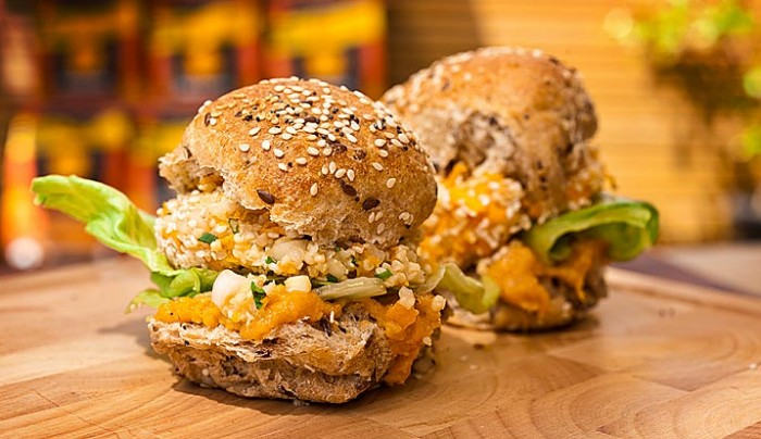 Millet Burgers with Miso and Pumpkin Sauce on Spelt Buns