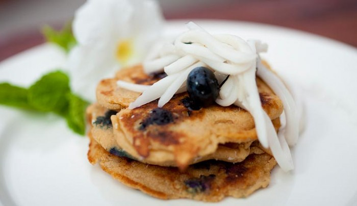 Blueberry, Almond and Coconut Gluten Free Pancakes