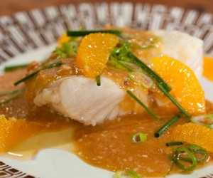 Poached Fish with Orange and Sesame Sauce
