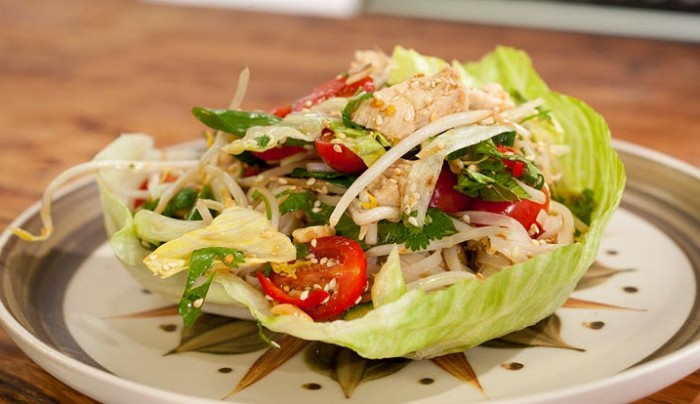 Vietnamese Rice Noodle Salad, Toasted Cashews & Poached Chicken
