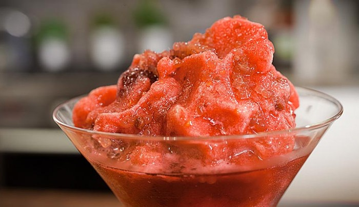 Raspberry and Hibiscus Flower Sorbet with Finger Limes
