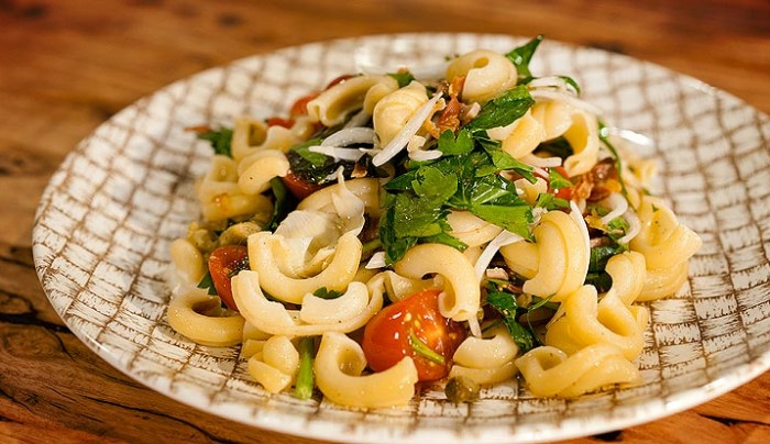 Orecchiette, Yellow heirloom tomatoes, Red teardrop tomatoes, proscuitto