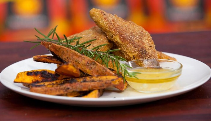 Crusted Tempeh with Sweet Potato Chips and Garlicky Dressing