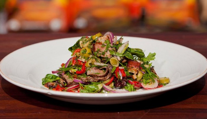 Warm Beef Salad of Peppercorn and Thyme-crusted Beef