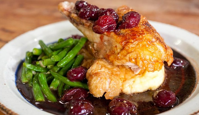 Old Fashioned Crispy Roast Duck with Cherry Glaze & Green Beans