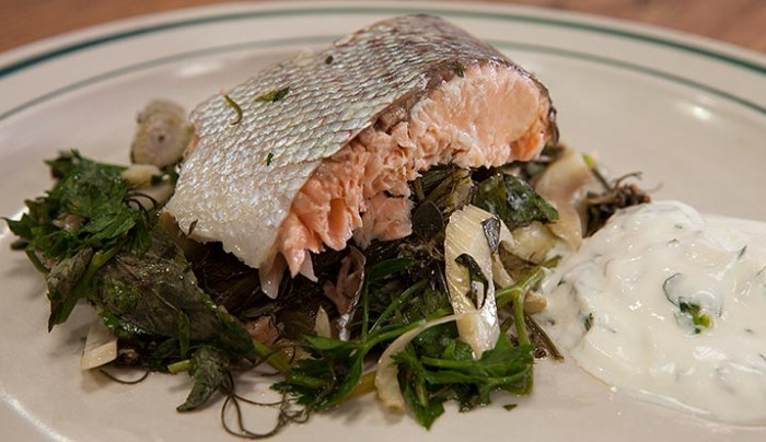 Whole Roasted Salmon Stuffed with Herbs & Fennel