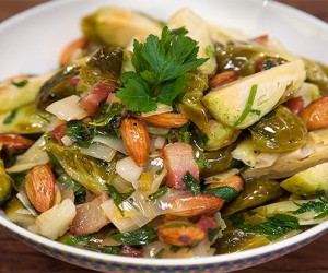 Sauteed Brussel Sprouts with Pancetta and Almonds