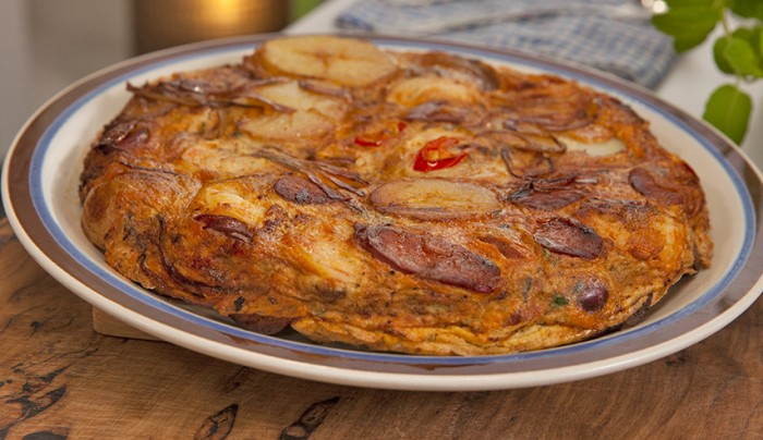 Spanish Omelette with Chorizo, Olives and Prawns