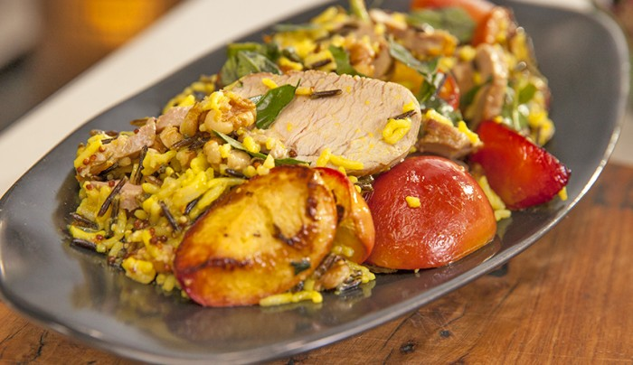 Summer Pork Fillet with Wild Rice and Roasted Nectarines