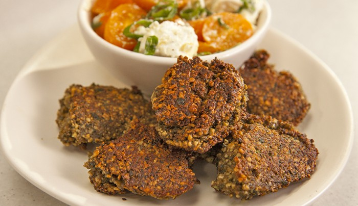 Cashew Fritters with Salsa Topping