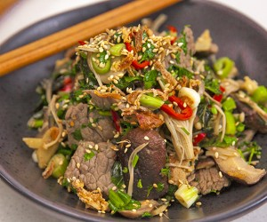 Beef and Egg Stir Fry with Ginger and Mushrooms