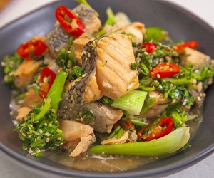 Salmon and Bok Choy Chilli Stir-Fry Served with Fragrant Quinoa