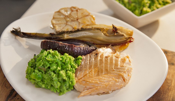 Whole Salmon with Braised Fennel and Pea Mash