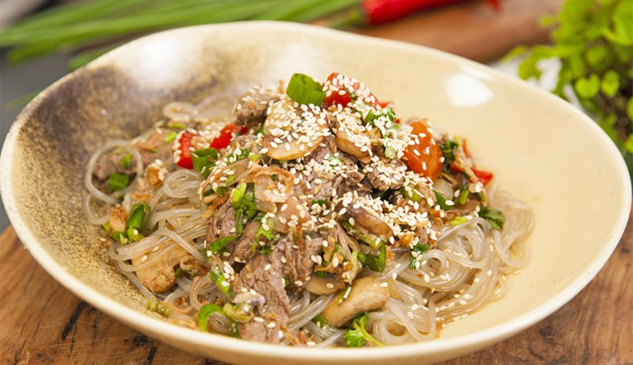 Korean Noodles with Beef and Vegetables