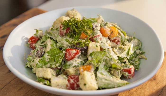 Hemp Seeds and Cashew Dressing with Tomato and Bread Salad