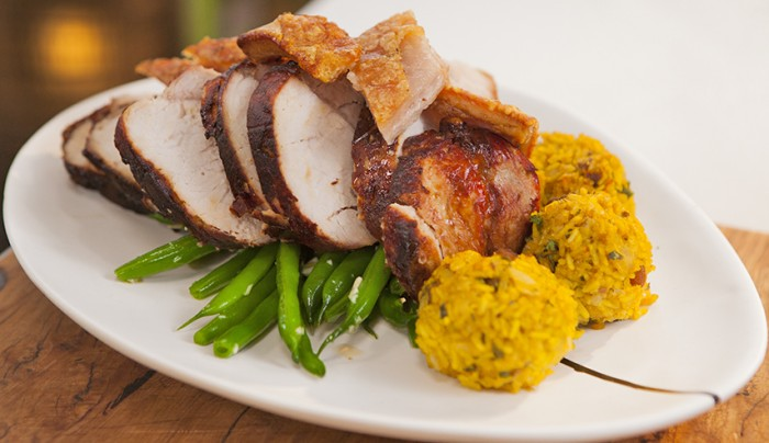 Pork with Spiced Stuffing Balls and Garlic Beans