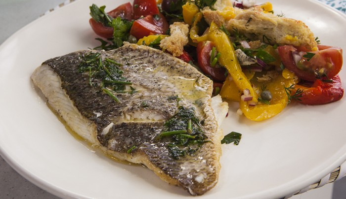 Grilled Snapper Fillet, Peppers, Olives and Capers