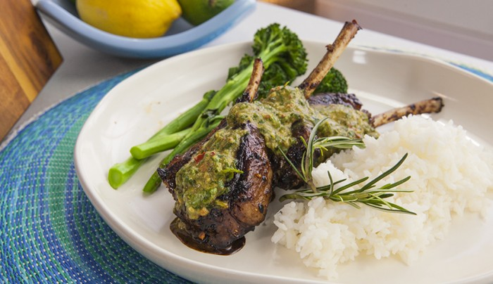 Grilled Szechuan Lamb Chops with Coriander and Chili Sauce