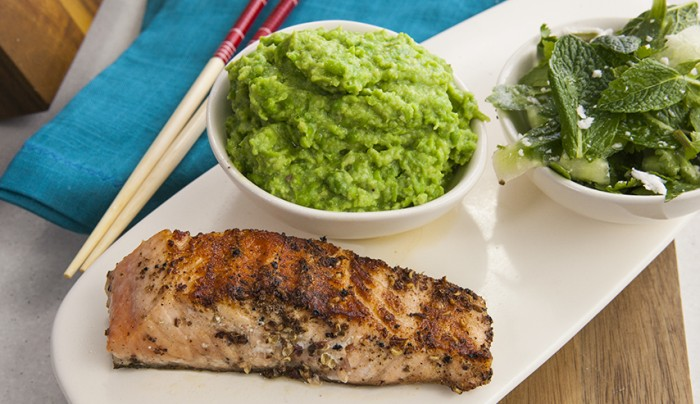 Szechuan Salmon with Wasabi Puree and Shaved Cucumber Salad
