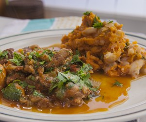 Braised Beef with Cannellini Bean and Sweet Potato Mash