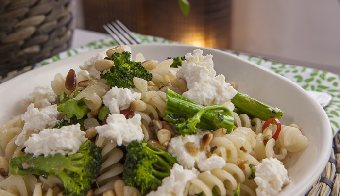 Gluten Free Spirals with Broccolini, Ricotta and Anchovies