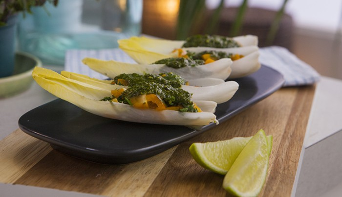 Dairy-Free Endive Boats with Pistachio Pesto