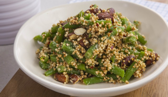 Green Beans with Almonds and Puffed Quinoa