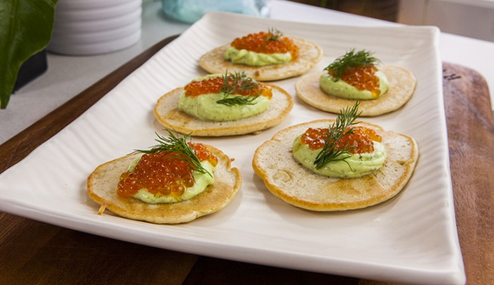 Gluten-Free Buckwheat Blinis with Salmon Roe and Dill Tzatziki