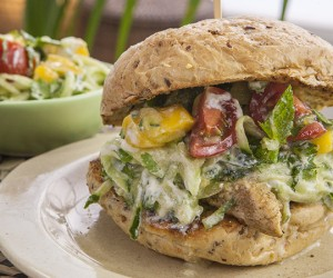 Indian Chicken Burger with Mango and Cucumber Yoghurt