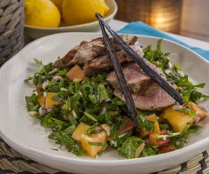 Vanilla Rubbed Pork Fillet with Peach and Almond Salad