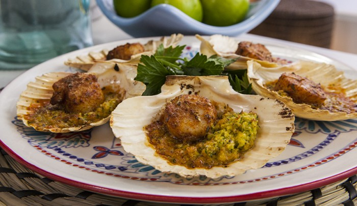 Spiced Scallops with Smoky Corn Puree
