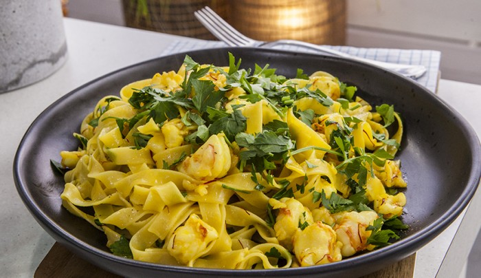 Prawn, Prosecco, Saffron and Butter Tagliatelle